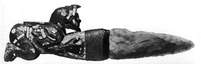 Ацтекский или миштекский нож с мозаичной инкрустацией рукояти